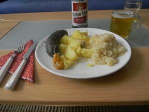 Black Pudding,Potatoes, Sauerkraut and Beer