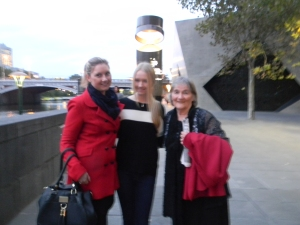Uta and granddaughters at the Yarra River