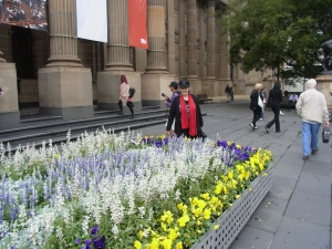 Uta at the entrance of the State Library, Melbourne Thursday, 18th April, 2013