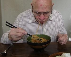 Peter had noodles.