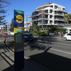 We waited at this bus stop for the free shuttle bus that was to take us into Wollongong City.