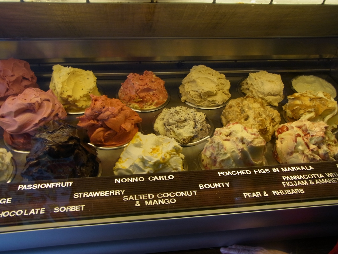 This is where Matthew and Caroline took us yesterday: Gelato de Messina! Homemade on the premises.