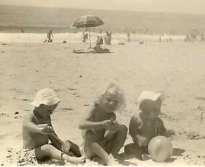 Birgit, a friend of the girls, with Gaby and Monika at Fairy Meadow Beach. Christmas 1959