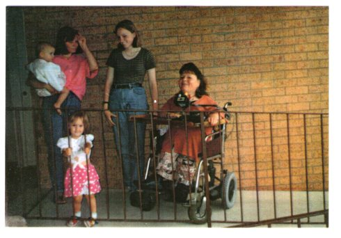 The three sisters: Gaby, Caroline and Monika, as well as Monika's daughters, Tashi and baby Roxy. August 1993