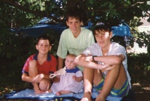 February 1993 The twins with Tristan and Justine, the children of our son Martin.