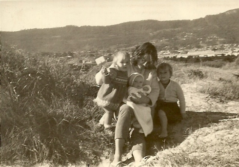 Uta with her children at Fairy Meadow Beach, NSW, Australia, June 1960