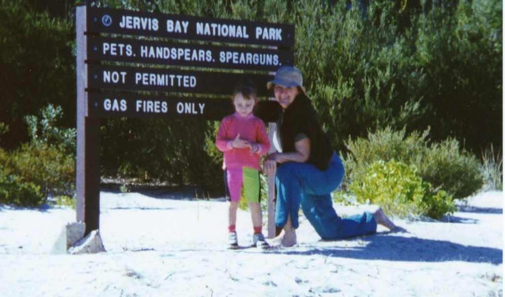 This is near our holiday place at Sussex Inlet in early 1995. Tashi is 3 1/2.