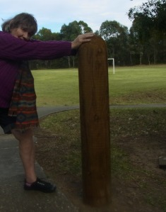Holding onto this post I like to do a bit of stretching.
