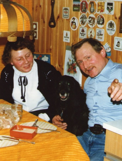 Eva and Harald with their dog Blinki in early 1983.