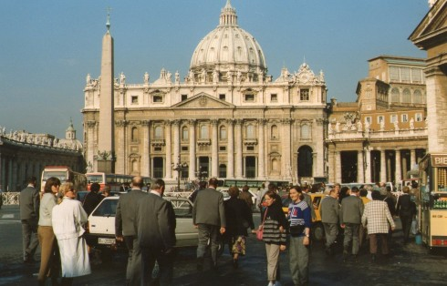 It was a Wednesday when we turned up at the Vatican. Lots of tourists had arrived in buses from Germany on that day. They thought we had come with them from Germany. The Pope greeted the tourists in German. We could hardly see him for he was a great distance away from us.