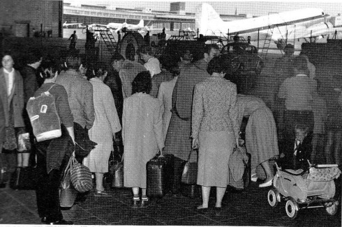 This is at the airport of Tempelhof. People are waiting to be flown out to West-Germany.
