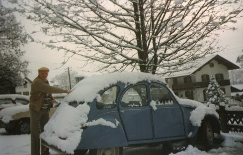 Our 2CV one morning in April 1990 near Ober-Ammergau