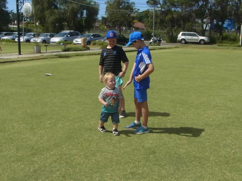 Lucas, our little great grandson soon found company on the lawns in front of the club and kept tirelessly running around.