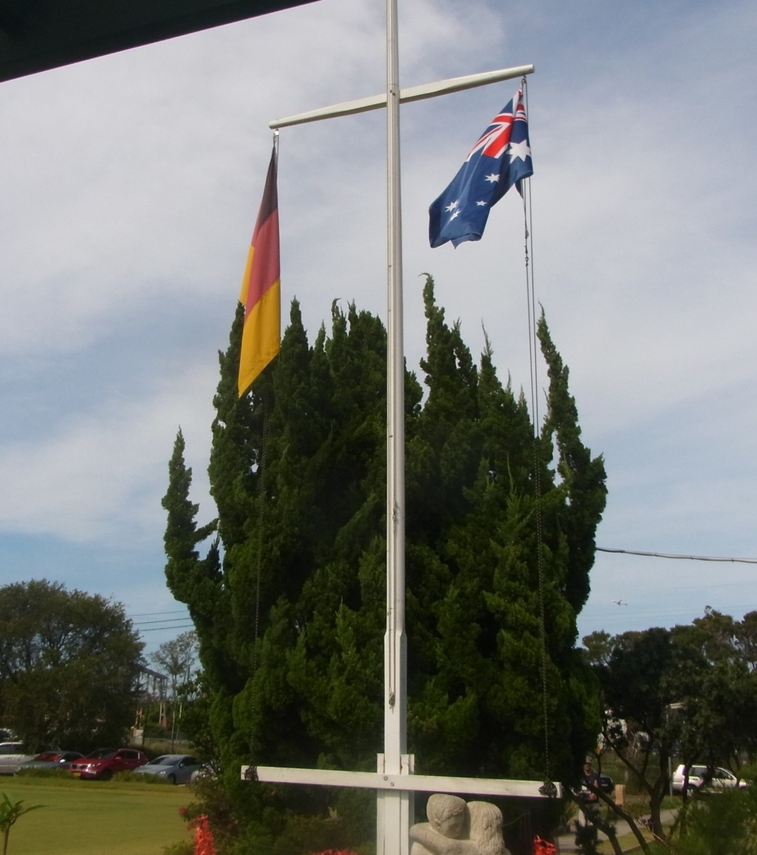 The Australian and the German Flag outside the Concordia Club