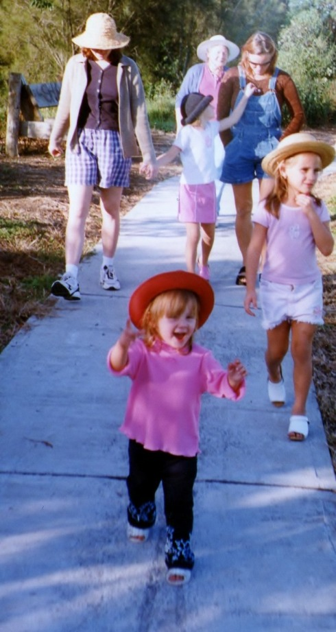 Here we are on a walk with Monika and her three daughters to the playground at the back of our property.