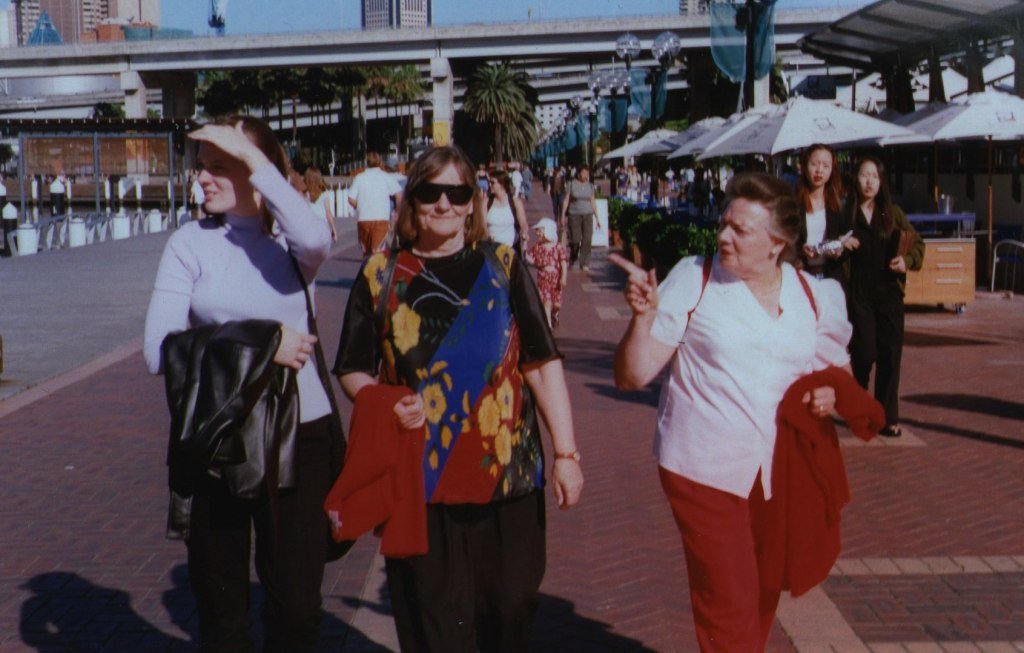 Here we stroll along Darling Harbour in Sydney. Going by the clothes we wear, this would have been on the day we went to the Chinese Gardens that are close to Darling Harbour.