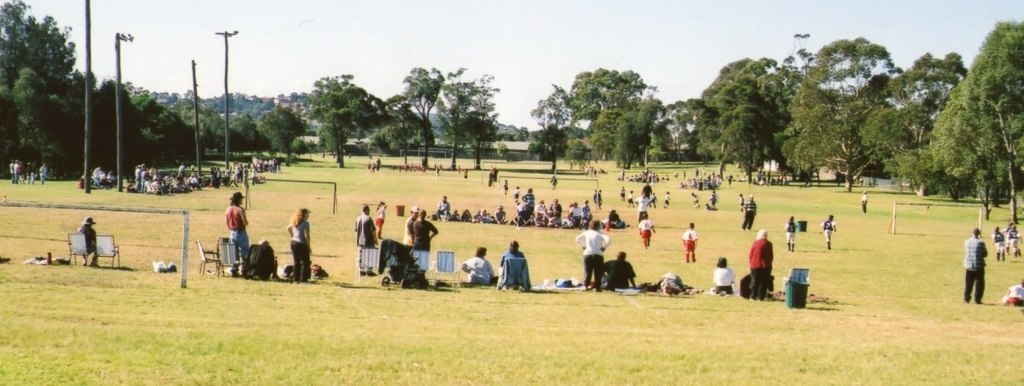 This is a picture from probably around 2OOO  on a day when some kids played soccer at Lakelands Park. A lot of kids still play soccer there during the winter season.