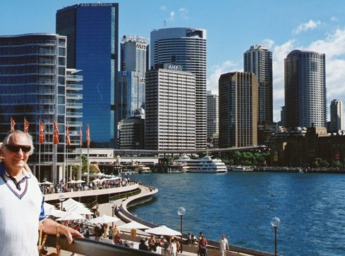 This is a look from the site of the Opera House towards Circular Quay. Richard on the left in the picture.