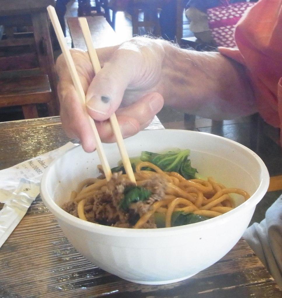 Peter chose a noodle dish.