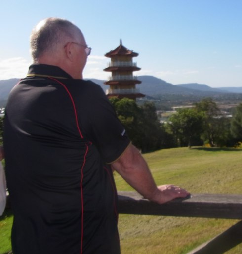 This is Martin near the Gratitude Bell looking towards the Pagoda.