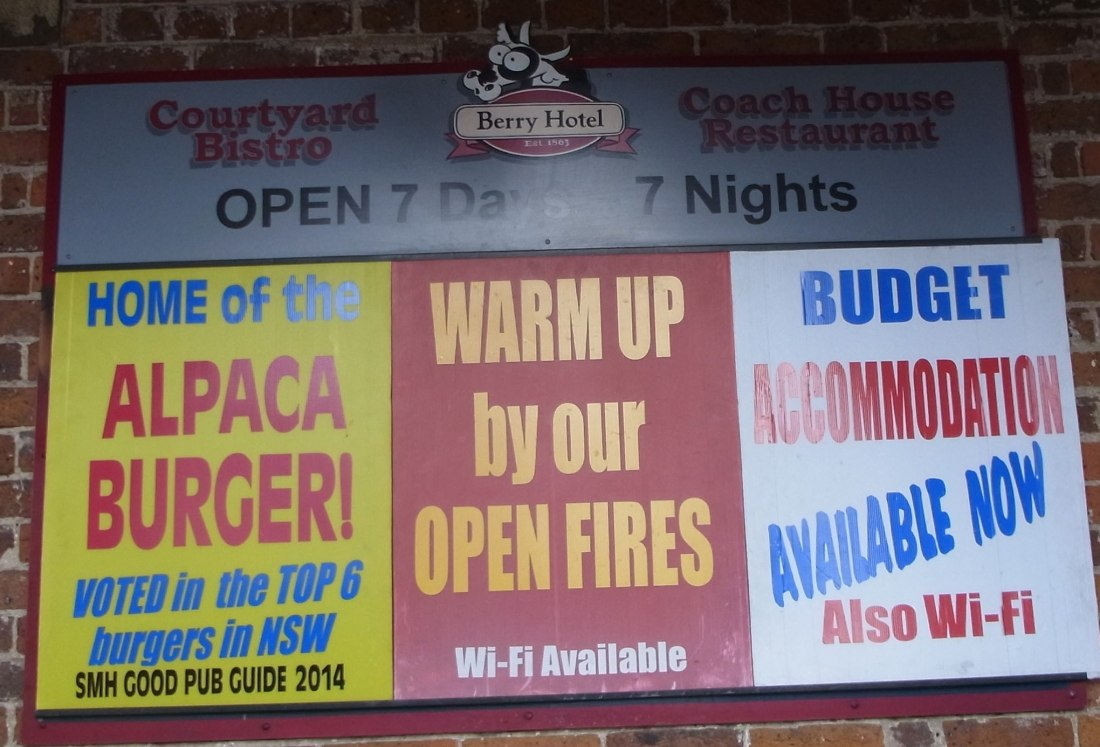 ALPACA BURGERS are advertised at the Berry Hotel.
