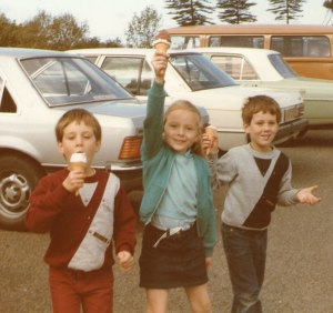 Caroline and the Twins love their ice-cream.