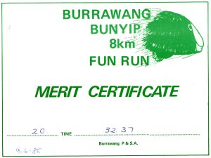 In June 1985 Peter had also done this 8 km FUN RUN.
