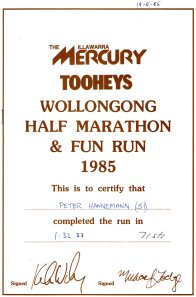 On the 18th August 1985 Peter was in this HALF MARATHON, also Martin.