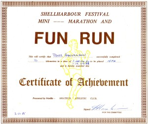 In November 1985 Peter participated in this Mini Marathon.