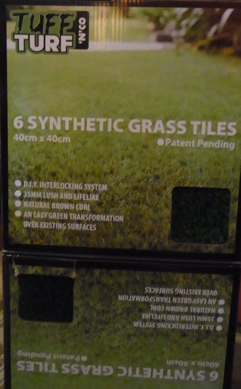 Also some SYNTHETIC GRASS TILES for our back yard