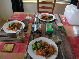 Our first meal at home after returning from Sussex Inlet.