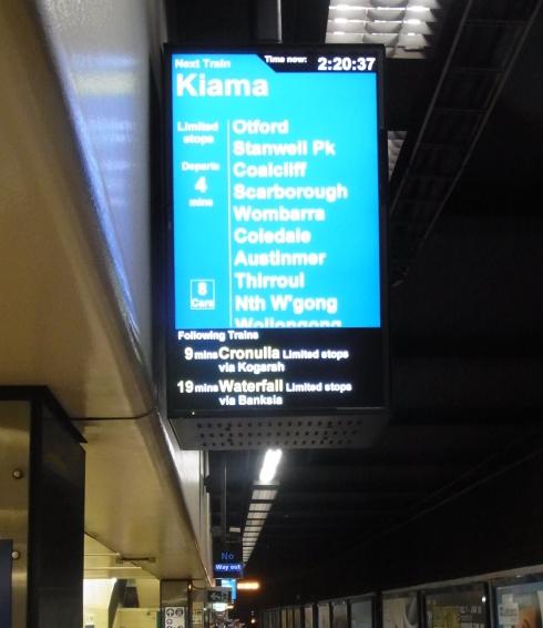 At Townhall Station we caught the Kiama train via Wollongong to Dapto.