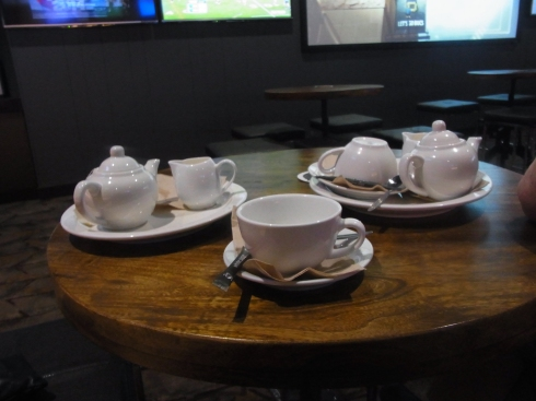 These lovely pots of tea were served to us.