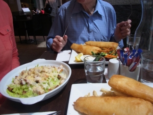 Caroline had a salad and Peter and I had beer battered fish and chips.