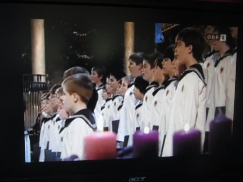 A picture from the computer of the Vienna Boy's Choir singing German Christmas songs.