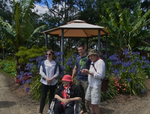 Caroline, Tristan and Peter. I  had asked for a wheelchair when we bought the tickets to enter the garden.