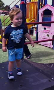 There is a lot to explore for Lucas on this playground!