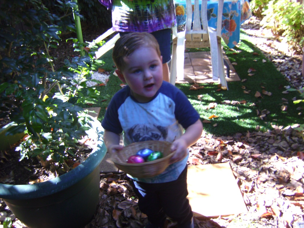 Lucas had no problem with counting all this eggs in his basket.