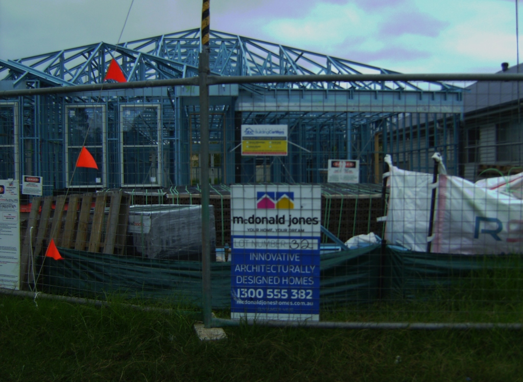 These people are building a fairly large house. I wonder whether they're going to have enough space for parking?
