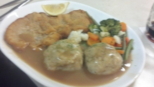 Veal Schnitzel and dumplings for me.