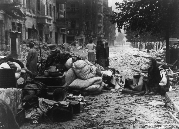 Bombedout people in the streets of Berlin 1945