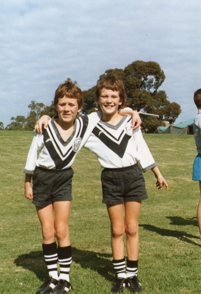 Ryan and Troy playing Footy  in May 1987