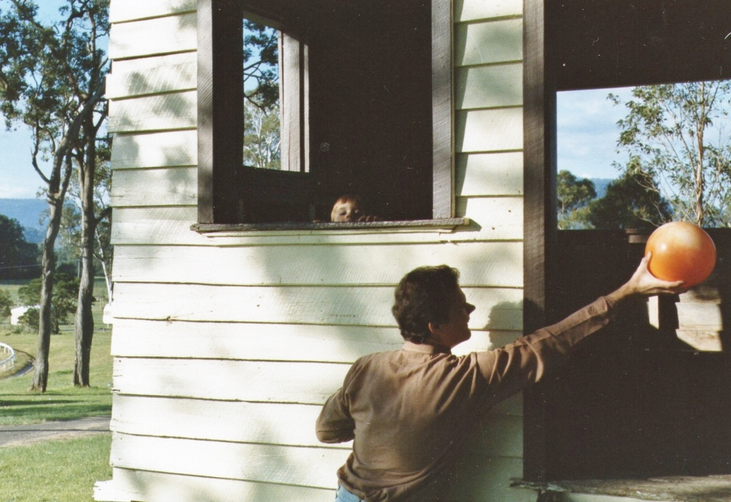 Martin plays with Tristan at Kangaroo Valley after his 10 km run on the 31st May 1987.