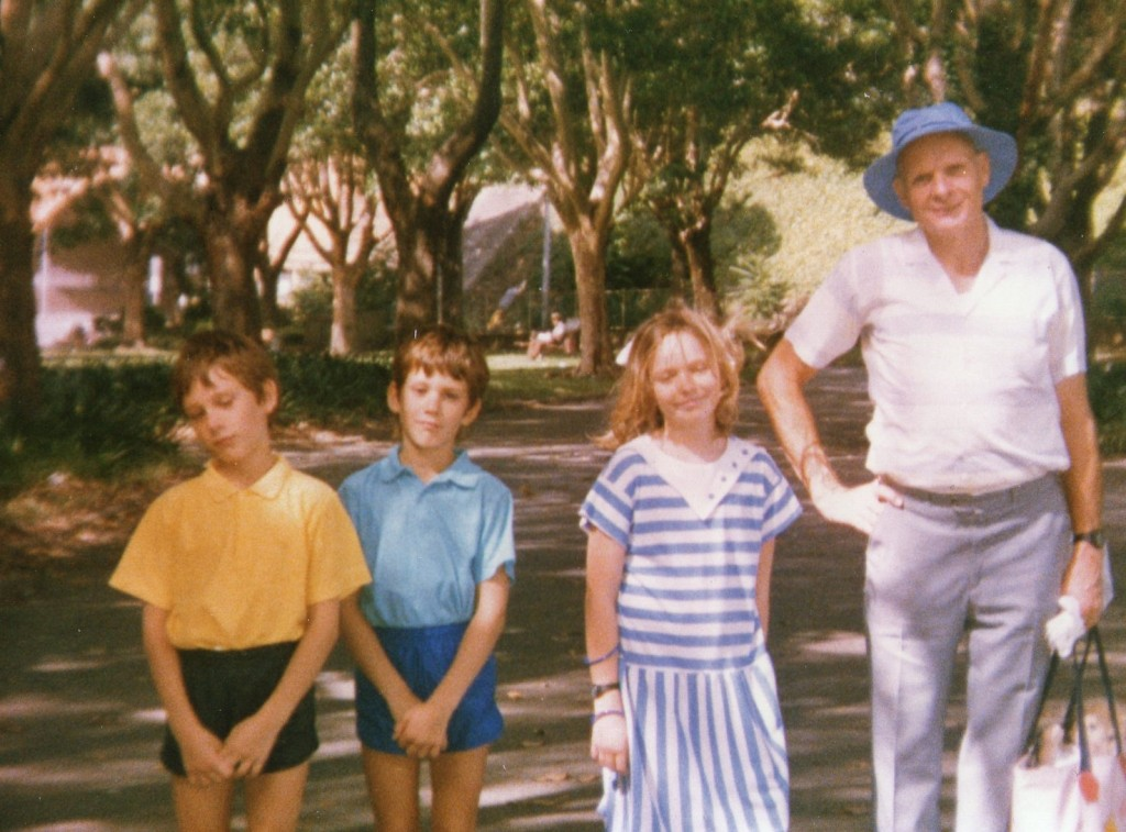 Peter with Caroline and the twins at Belmore Park in Sydney. Dec.1987
