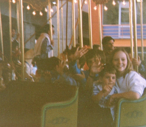 Caroline, Tristan and also Troy and Ryan enjoy a ride at Darling Harbour.