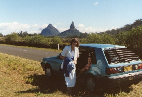 Here we stopped our car to have a look at the Glasshouse Mountains.