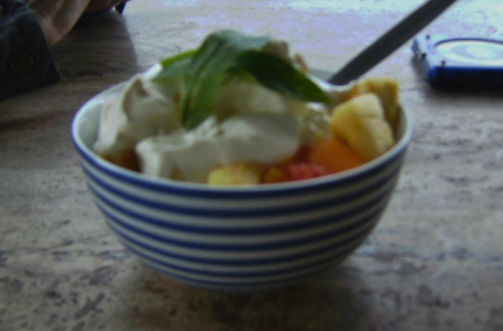 I had chosen fresh fruit salad with yoghurt.