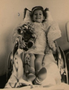 Gaby's birthday in 1963. She loves her musical bear.