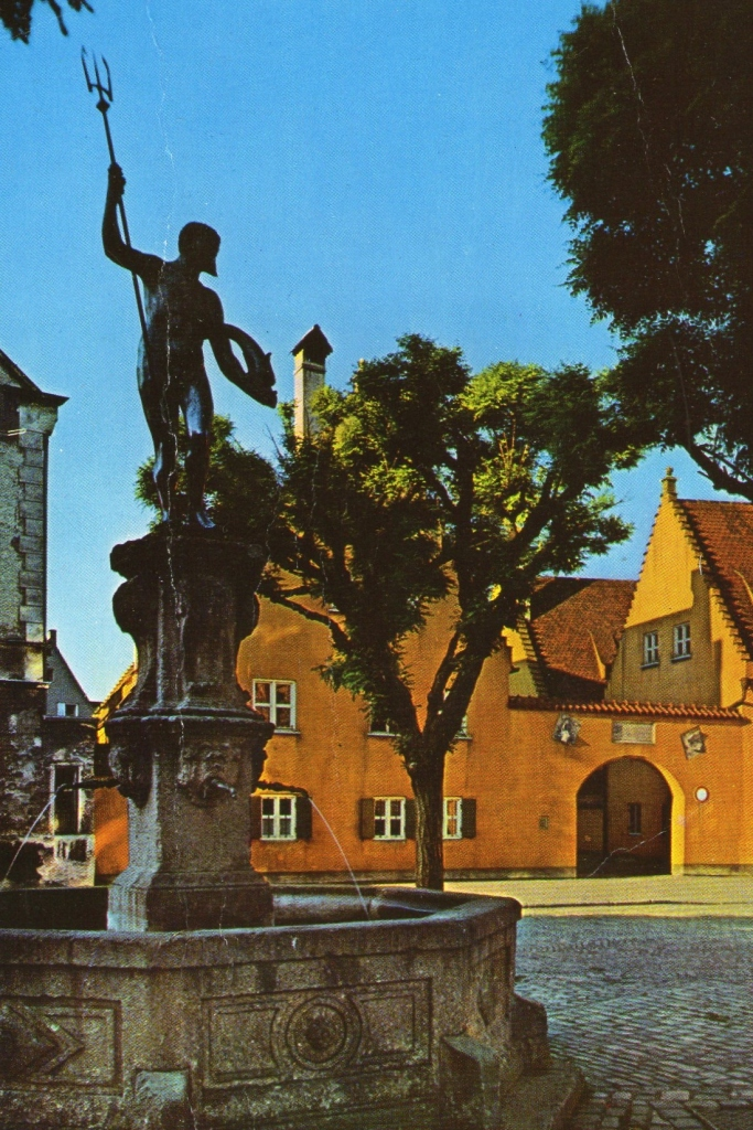 Neptunbrunnen and Entrance to the Fuggerei