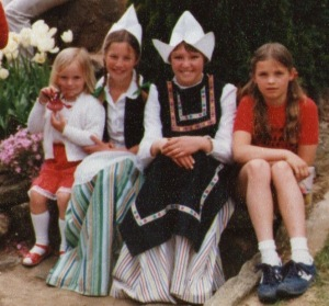 Caroline and Ellen with Dutch Girls at the Bowral Tulip Festival in 1982